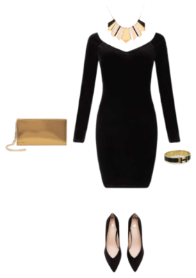 Wearing Black: Little black dress with yellow gold accessories