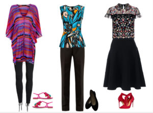 Patterned tops with black skirt and pants