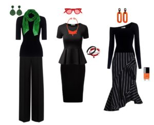 Adding colour to soften black outfits