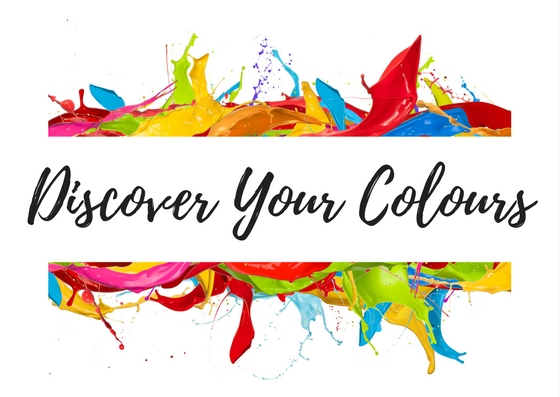 Colourful frame with text: Discover Your Colours