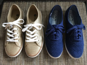 Stylish, comfortable shoes for women over 40: gold and blue sneakers