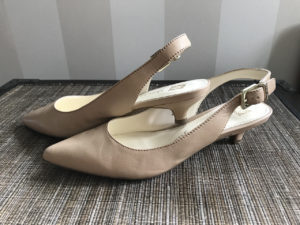 Stylish, comfortable shoes for women over 40: sling back shoes with kitten heels