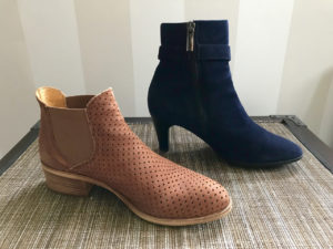 Stylish, comfortable shoes for women over 40: tan and navy ankle boots