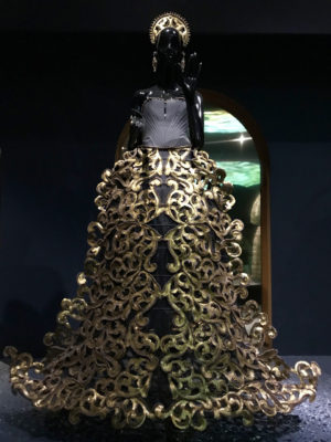 Black chest piece and lace gown Guo Pei