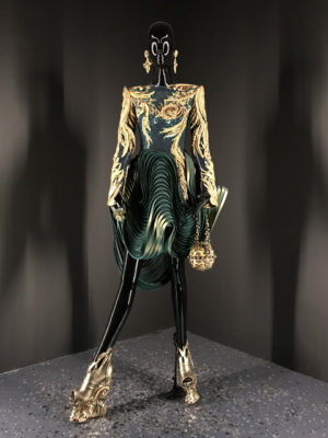Deep green and gold dress Guo Pei