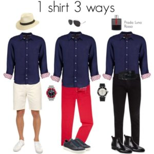1 shirt 3 ways: Deep blue shirt with shorts, red pants and black pants.