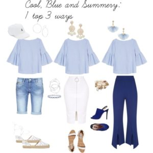 1 top 3 ways: off the shoulder, cool blue summer top with shorts, shirt and jeans.