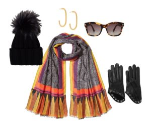 Winter style tips: The golden colours in the scarf inspired gold loop earrings and tortoise shell sunglasses