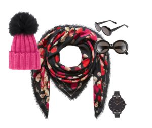 Winter style tips: pink beanie, sunglasses and watch with pink numbers go with the multi coloured scarf