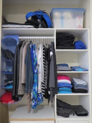 Tidy, organised clothes in wardrobe after Your Wardrobe Audit in 5 Easy Steps