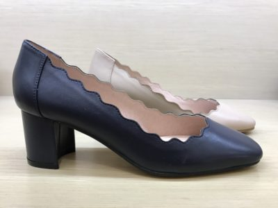 These scalloped edge block heeled shoes are on trend for corporate attire this Spring/Summer