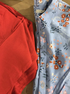Examples of powder blue and red orange - on trend colours for Spring/Summer 2018