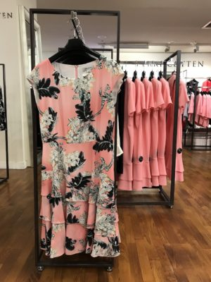Spring/Summer corporate dressing: Shell pink floral Perri Cutten dress