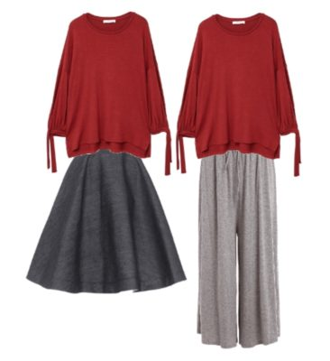 Two outfits featuring voluminous garments. These looks do not improve your style.
