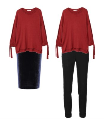 Two outfits featuring voluminous tops and slim fitting pants and skirt. Wearing this type of clothing combination is a way to improve your style.