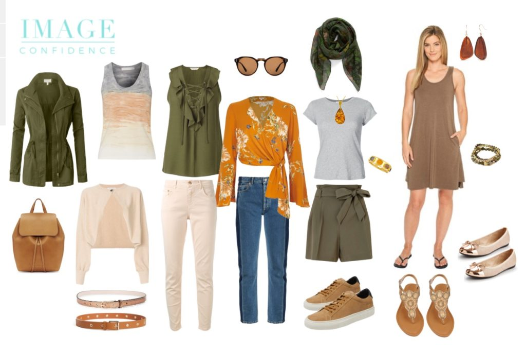 A Capsule Wardrobe of Casual Wear with Accessories. It includes 10 garments, 3 pairs of shoes, 2 belts and a handbag as well as jewellery.