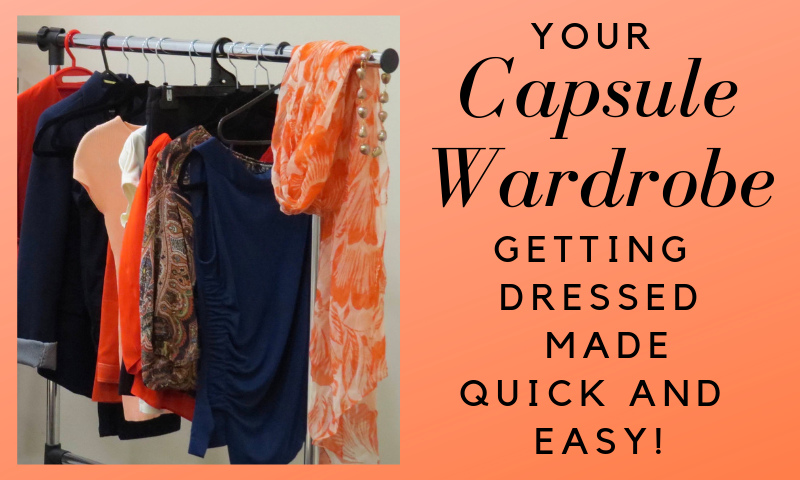 A group of coordinating clothes hanging on a rack. This is called a capsule wardrobe. It makes getting dressed quick and easy.