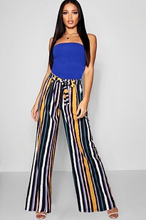 Striped palazzo pants with a bright top. the bright top brings attention to your face.