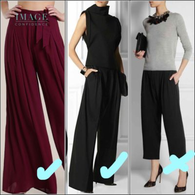 3 pairs of palazzo pants. The first pair features floaty fabric. The second pair of palazzo pants feature a hemline that covers the shoes. The third pair is too short. It makes the wearer look short and wide.