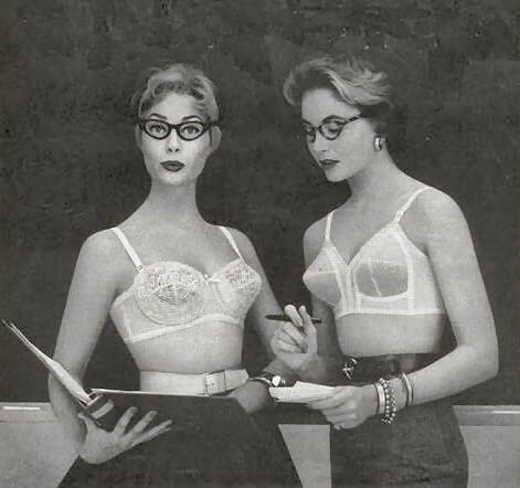 Underwear Essentials blog. Two ladies wearing 1950s bras.