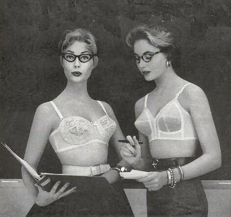 Underwear Essentials blog. Two ladies wearing 1950s bras.