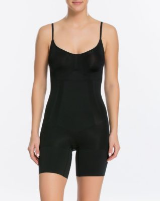 Underwear Essentials blog. Model wears a modern day version of a girdle - the OnCore mid-thigh bodysuit from Spanx.