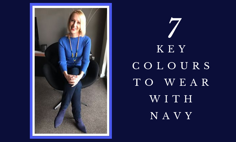 Title of blog is displayed, '7 Key Colours to Wear with Navy'.