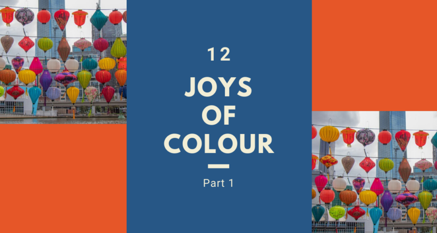 """Assorted colourful lanterns and the title of the article, """"12 Joys of Colour""""."""