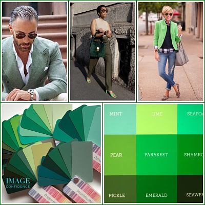 Man and women wear green coloured clothing. Examples of warm and cool green swatches.