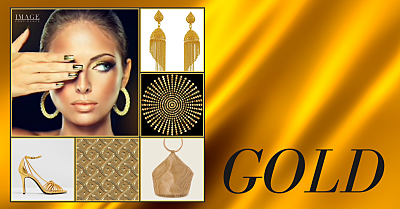 Collage featuring gold earrings, bag, shoes and woman with gold coloured finger nails.