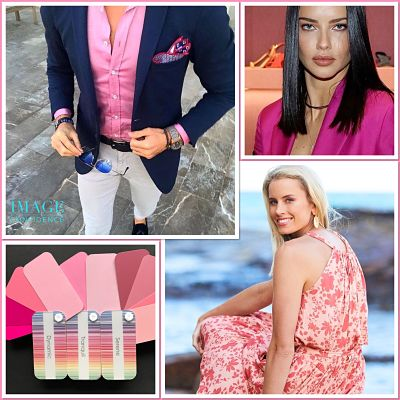 Man and women wear pink clothing. Swatches of various tints, tones and shades of pink.