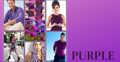 Collage with men and women wearing purple clothes. Also, purple colour swatches and flowers.