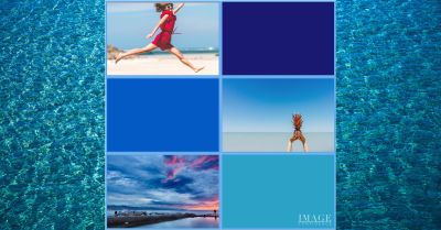 Collage of different tints, shades and tones of blue.For example, blue sky and tropical blue water.