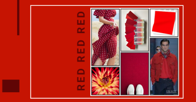 Collage of red coloured items, such as a red dress, flower and a model wearing a red top and jacket.