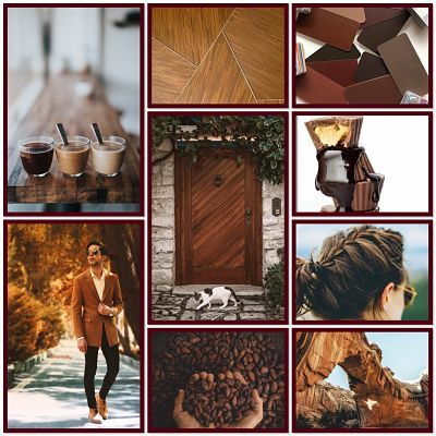 Collage depicting brown items eg coffee, a wooden door and floor, chocolate, brown hair, rocks.