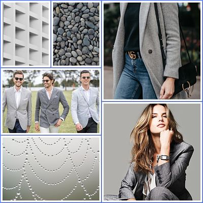 Collage featuring grey coloured items e.g pebbles, grey coat and blazers, cement building.