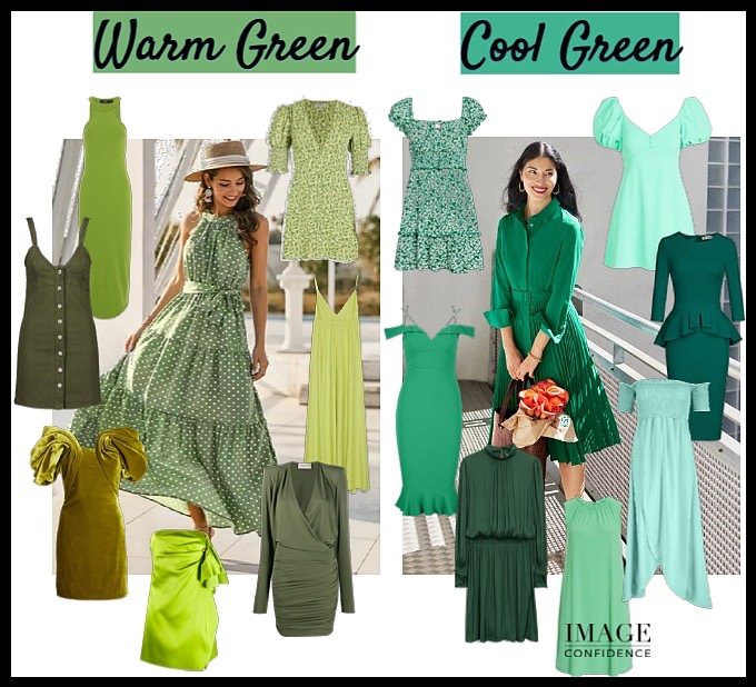 A selection of warm green and cool green dresses.