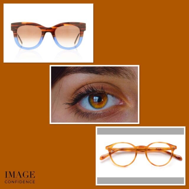Image of an amber coloured eye and two pairs of glasses that will enhance that eye colour.