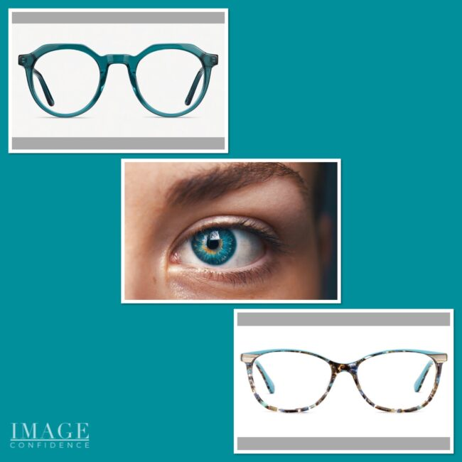 Picture of a teal blue eye and two pairs of teal blue glasses which will enhance the colour of the eye.