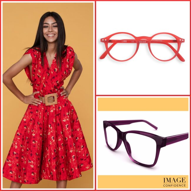 Woman in red floral dress and two examples of eyewear that will suit her warm skin tone.