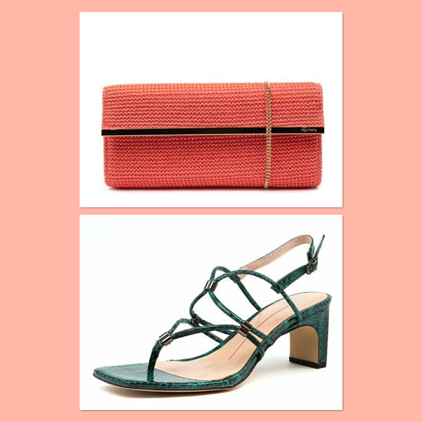 Coral coloured clutch and green strappy sandals.