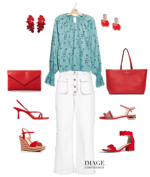 Festive outfit featuring white pants, mint coloured lace top, and various red shoe, handbag and earring selections.