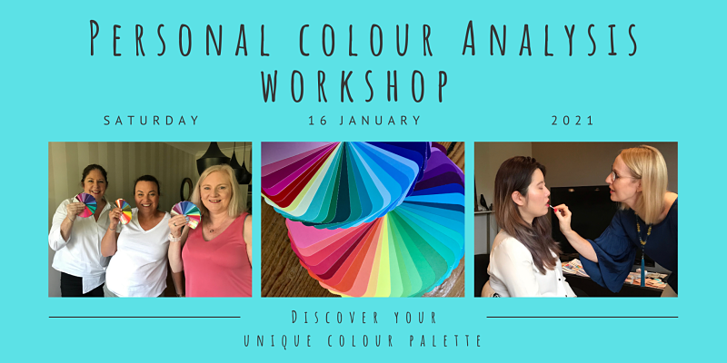 Women enjoying a Personal Colour Analysis Workshop and some examples of colour swatches.
