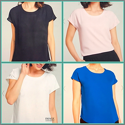 Model wears 4 tops that are all the same style but in different colours.