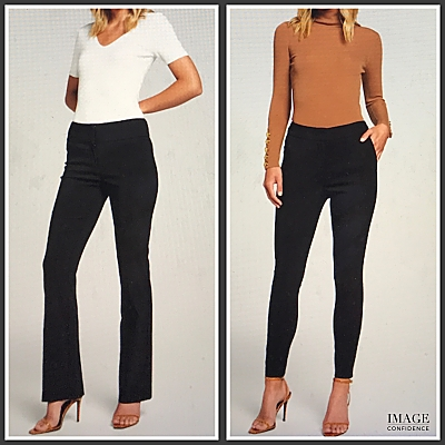 2 images: in one picture the model wears a white top and black pants. In the second picture, the model wears a caramel coloured knit and black pants.