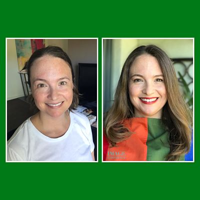 Before and after photos of a woman who has just had a personal colour analysis.