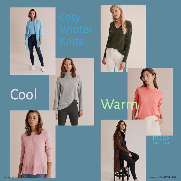 Six women wearing stylish winter knits.