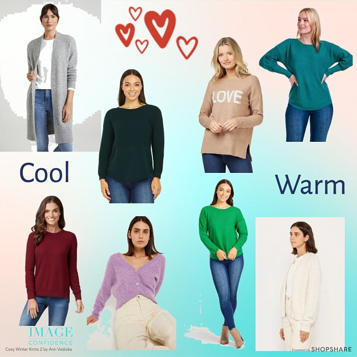 8 happy women wear cosy winter jumpers and cardigans.