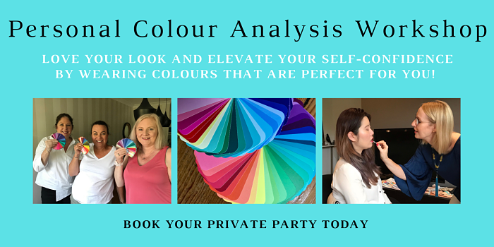 Three women are holding their new colour swatches after attending a group colour analysis consultation. One lady is enjoying having makeup applied to her face.