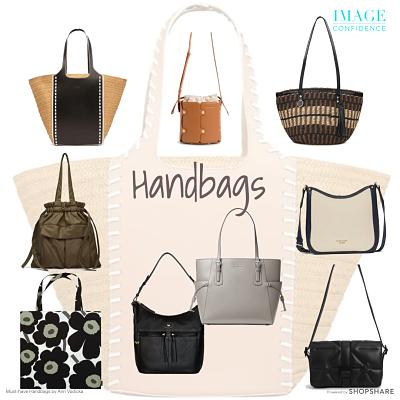 Nine handbags in a mix of neutral tones.